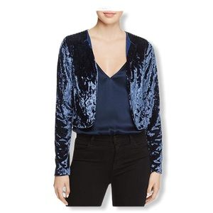 Crushed Velvet Open Front Cropped Jacket